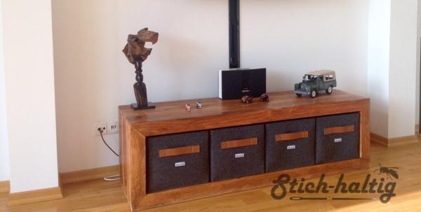 regalkorb aus filz mit ledergriff stich. Black Bedroom Furniture Sets. Home Design Ideas