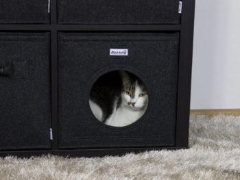 Katzenhöhle aus Filz dunkelgrau
