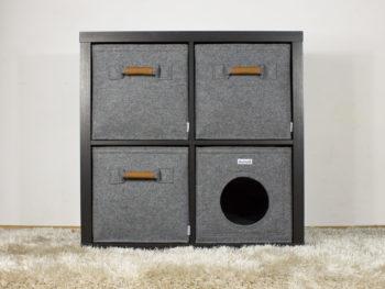 katzenh hle passend f r z b ikea kallax expedit regale dunkelgrau stich. Black Bedroom Furniture Sets. Home Design Ideas