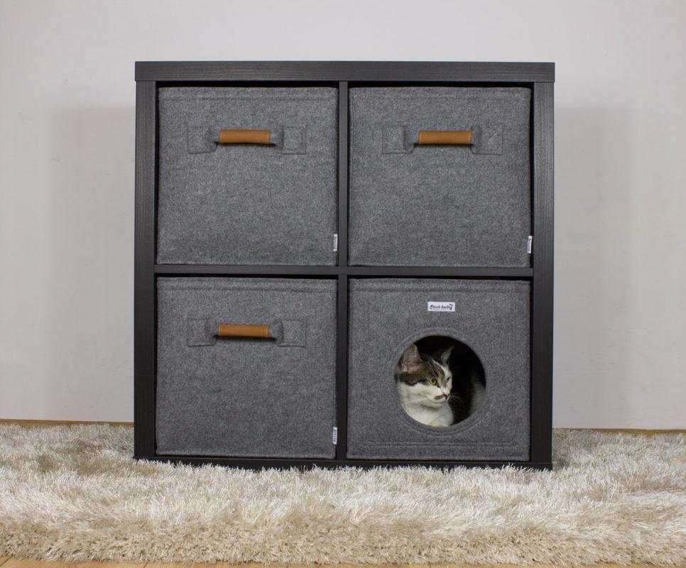 katzenh hle passend f r z b ikea kallax expedit regale hellgrau stich. Black Bedroom Furniture Sets. Home Design Ideas